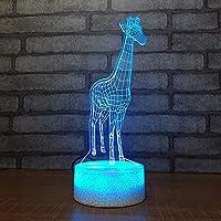 Dtcrzj Oo漫画キリン3D小さなナイトライト子供発光おもちゃ寝室のベッドサイド装飾LedライトUsb Led子供ランプ