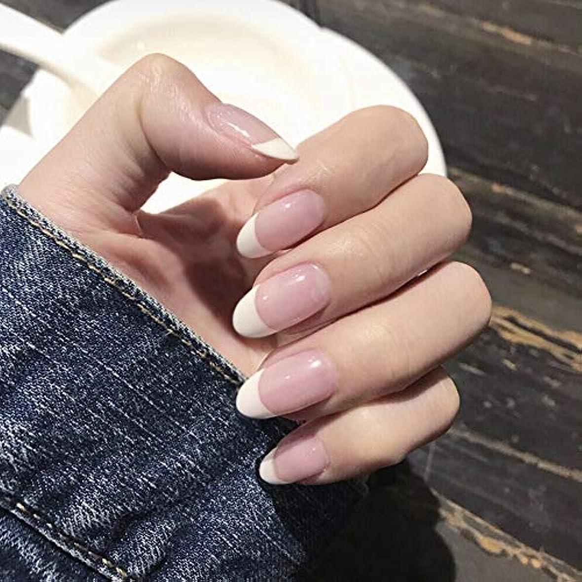 ぐったりダウンタウン言うまでもなくXUTXZKA 24個の偽の爪楕円形の長いフルカバーホワイト偽爪人工ネイルステッカー