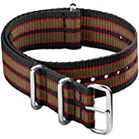 Archer Watch Straps - Classic Nylon NATO Straps | Choice of Color and Size (Black/Red/Green, 22mm)