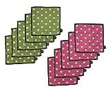 fureru ふんわりハンドタオルセット 女の子 レディース ブランドハンカチ (fufuMIX10枚組(ピンク&グリーン))