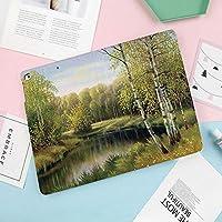 新型iPadケース スマートカバー アイパッドケース タブレットカバー プロ10.5 iPad Pro 10.5 オートスリープ機能 スタンド付き ダイアリー 手帳型 ブ(モデル番号:A1701,A1709)秋の白樺の枝の白樺の森穏やかな川油絵