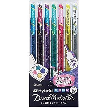 ぺんてる ラメボールペン Dual Metallic K110-7ST 7色