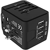 Jollyfit International Universal Travel Adapter 4 USB Charger AC Power Wall Plug US UK AU EU Worldwide 150 Countries with Safe Fuse for Europe France Italy American British European Adapter