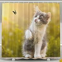 arsmtカスタムシャワーカーテンフック付きFurry Cat Play Withバタフライ非毒性バスルーム用装飾