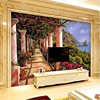 Xbwy カスタム3D壁紙シーサイドプロムナードガーデン3Dステレオ壁紙リビングルームベッドルームスタジオオフィス壁紙カスタム壁画-350X250Cm