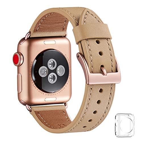 WFEAGL コンパチブル Apple Watch バンド,は本革レザーを使い、iWatch Series4/3/2/1、Sport、Edition向けのバンド交換ストラップです コンパチブル アップルウォッチ バンド (42mm 44mm, キャメル バンド+ゴールド 四角い バックル)