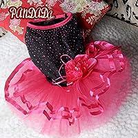 赤、M:女の子犬のためのペット犬ピンクの服を見せびらかすチュチュドレスのレースのスカートの花のドレスコスチュームアパレル