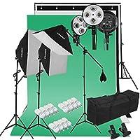 "CRAPHY 写真撮影用照明セット 豪華29件キット 4in1電球ソケットー45W 5500kソフトボックス(20x26"")+背景サポートスタンド(10x6.5FT)+ 3色背景布(9x6FT)+キャリングバッグ"