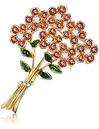 Ruikey ブローチ 花 クリスタル ブローチ ピンブローチ レディース 誕生日 記念日 卒業式 プレゼント