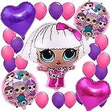 誕生日パーティー飾り付け Lolサプライズ 人形 女 バルーン 風船 ゲーム 面白い 誕生日 ベビーシャワー 女子会 部屋 ピンク パープル ハート ローズレッド 可愛い おしゃれ お祝い イベント 38枚セット