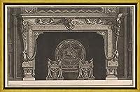 フレーム Giovanni Battista Piranesi ジクレープリント キャンバス 印刷 複製画 絵画 ポスター(黄道帯の数字とギリシャのキーモチーフと円形の火の折り返しで飾られた煙突のArchitrave) #XLK