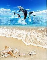 ThickenedウェアラブルPVC床Painted Place to貼付3dサーフビーチシェルヒトデリビングルームバスルーム床sykdybz bizhi1-314