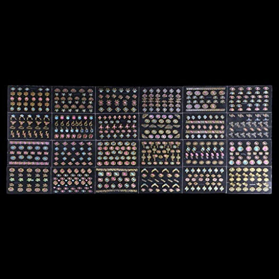 記念日毒液使い込むSharring 24シート3DデザインネイルアートステッカーヒントデカールジュエルマニキュアDIYの装飾 [並行輸入品]
