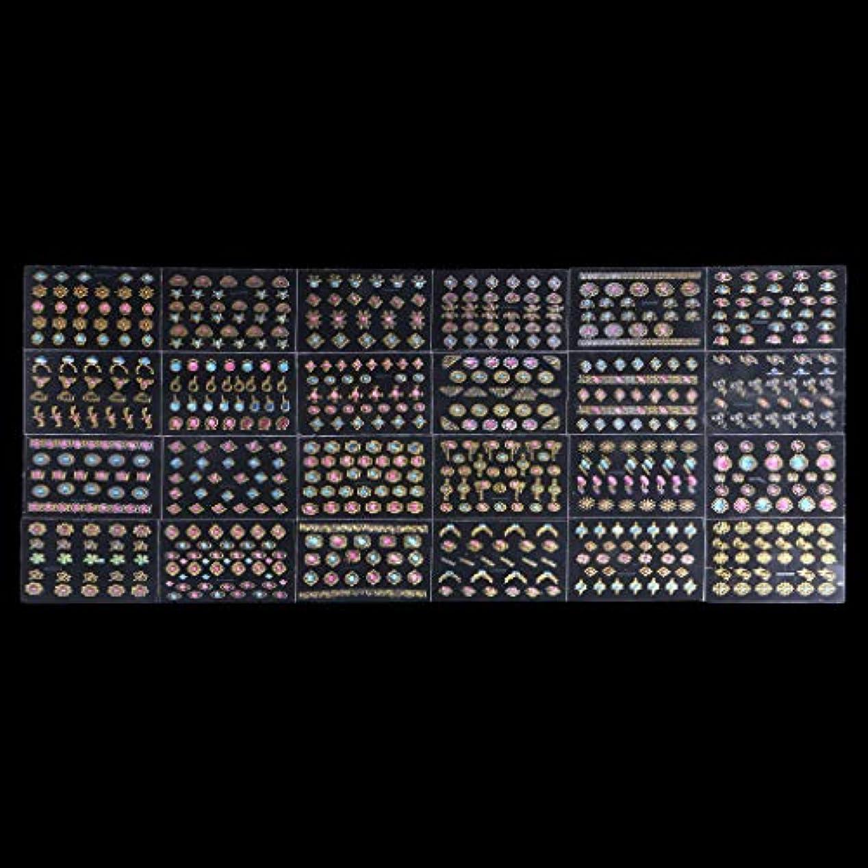 南東マージ配偶者Sharring 24シート3DデザインネイルアートステッカーヒントデカールジュエルマニキュアDIYの装飾 [並行輸入品]