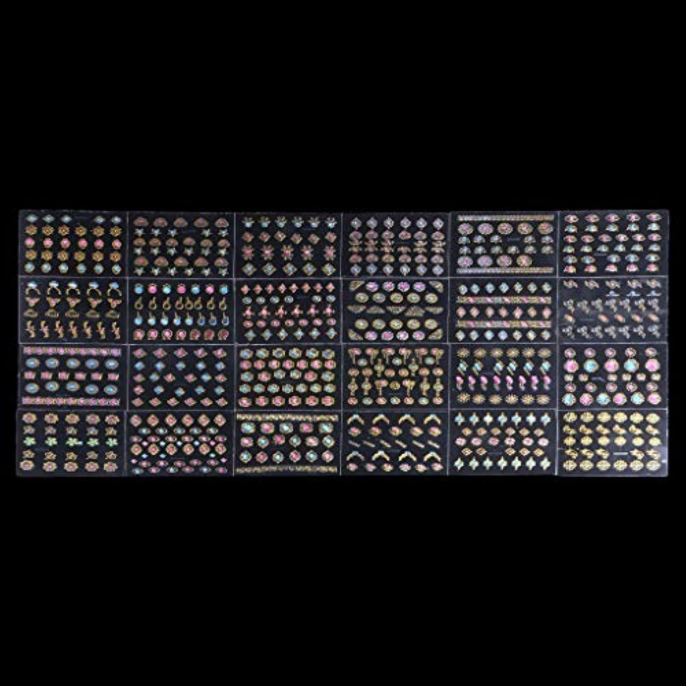 脆い禁輸審判Sharring 24シート3DデザインネイルアートステッカーヒントデカールジュエルマニキュアDIYの装飾 [並行輸入品]