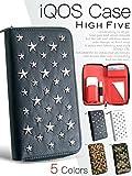HIGH FIVE アイコスケース ウォレット型 スター スタッズ ラウンドファスナータイプ 手帳型 レザーアイコスケース IQOSケース アイコス専用 全部収納 オールインワン 財布型 ブラック
