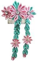 髪飾り ピンク つまみ 細工 コーム 髪留め 花 飾り かんざし 七五三 成人式 卒業式 三歳 七歳 着物 袴 正月 雛祭り お祝い T08