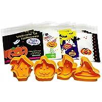 verdure ハロウィン クッキー 型 スプリング付き 4種類 ラッピング袋 4種類 20枚 セット