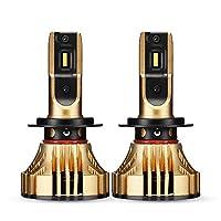 NOVSIGHTオリジナル H7 LEDヘッドライト車検対応 CREEチップ 36wx2 6000lmx2 3000K黄金色 イエロー LEDフォグランプ 冷却ファン内蔵 360°発光 DC9-32V ハイブリッド車・EV車対応 2個セット