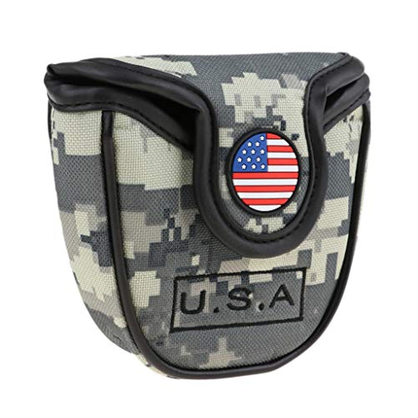 ストライド無効国旗ゴルフヘッドカバー ゴルフパターカバー マレットタイプ対応 アメリカフラグ柄 ナイロン製