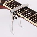 【全7色】 ギター カポタスト Guitar Capo フォーク エレキ 用 0.58 mm 0.71 mm 0.81 mm ピック 各2個 クロス 付き (3. シルバー 銀)