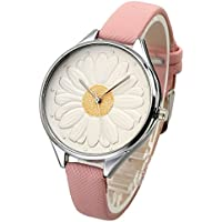 Top Plaza Women Casual Elegant Silver Round Case Thin PU Leather Band Daisy Carve Dial Analog Quartz Watch 30M Waterproof(White)