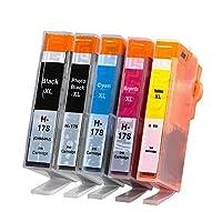 互換インクカートリッジ HPプリンター ヒューレットパッカード HP178XL CR282AA 5本パック 増量 フォトブラック シアン マゼンタ イエロー ICチップ付 残量表示