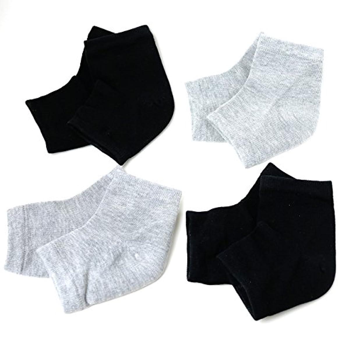 恐怖起こりやすいに沿ってBanane D'or かかと 靴下 ソックス セット (黒×2 グレー×2)