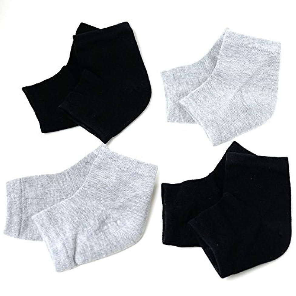 護衛みなさん章Banane D'or かかと 靴下 ソックス セット (黒×2 グレー×2)
