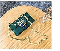 新しい 女性 ショルダーバッグ ゼリーバッグ シンプル ファッション 斜め掛け (Color : Green, Size : S)