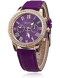 ジュネーヴ風 ビジネススタイル腕時計 ローマ数字文字盤 レディース クォーツウオッチ 女性用 レザーバンド (パープル)
