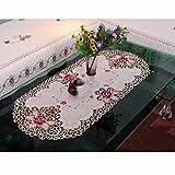 ファッションホーム-北欧 おしゃれ テーブルクロス ベージュ地に花模様の刺繍とゴールド色のカットワーク ナチュラル田園風 食卓・ティテーブルクロス・インテリアコーディネート 楕円形 40cmx85cm
