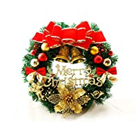D.IIZOO クリスマスリース クリスマス 飾り 玄関リース ドアチャーム 装飾 ドア 窓 インテリアの飾り 華やか X'mas おしゃれ 可愛い 店舗装飾 直径30cm/40cm/60cm/80cm/100cm YY01 (30cm)