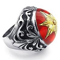 [テメゴ ジュエリー]TEMEGO Jewelry メンズレディースステンレス鋼キュービックジルコニアリング、ヴィンテージ刻まれた六芒星・バンド、レッド・ブラック・イエロー[インポート]