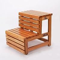 ステップスツール、木製のヨーロッパのシンプルな木の色、家庭用はしご二重使用ステップ足はしご二段階段のはしご多機能環境保護