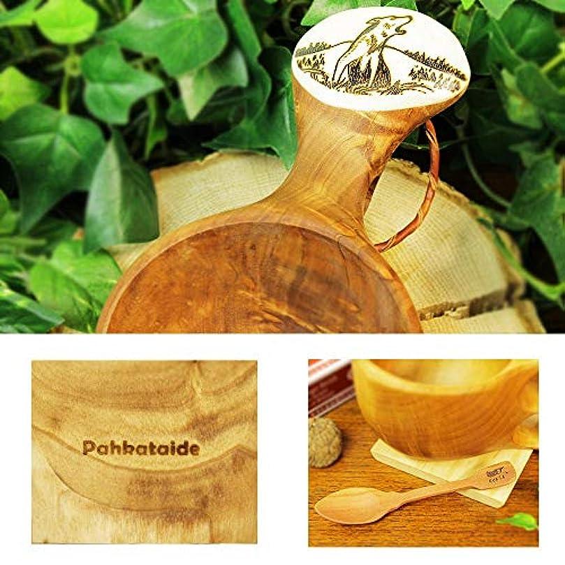 ほこり答え閉じる北欧フィンランド木製 本物ククサ Kuksa Pahkataide(パッカタイデ)ヴィサコイブ/カーリーバーチ オオカミの絵柄ツノ飾り 説明書 箱包装 木製ヴィンテージスプーン付き