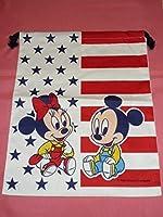 !レトロ ディズニー ミッキーマウス&ミニーマウス 大きなきんちゃく袋