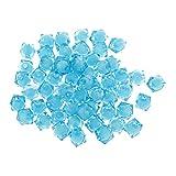 【ノーブランド品】100個 新しい 正方形 アクリル 多面的な スペーサー ビーズ 宝石 スカイブルー