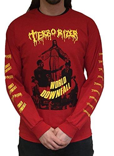 テロライザー ワールド・ダウンフォール 赤 Tシャツ Terrorizer World Downfall Red Long Sleeve T Shirt