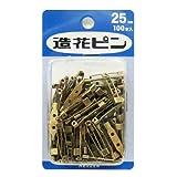 造花ピン25mmアンティークゴールド(コサージュ、ブローチ用)100本入り 【パック】