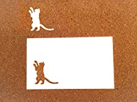 message Card / ネコ / 透かし模様 / ミニ切り絵猫とカード2枚組10枚セット