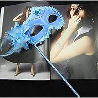Ujamoat - スパンコールベネチアボールマスクMasqueradパーティークリスマス[青]を用品マスクスティックフラワーサイドハンドヘルド・アイ上のマスク