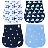 Burp Cloths Boys Girls - Absorbent and Soft Baby Burp Clothes Set 4 Pack by YOOFOSS