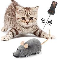 HUZVLS 猫おもちゃ ベッド用品 猫じゃらし ダ イエット 運動不足解消 ネズミ型 ラジコン リモコン付き 耳色ランダム グレー