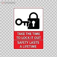 デコレーションビニールステッカーTake the Time to lock it out安全Lasts a Lifetimeデコレーションビニールd217a95C4 10 In. DT17V195341000