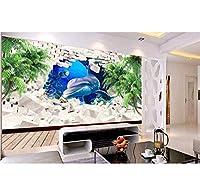Weaeo 3D壁画の壁紙カスタムイルカのココナッツツリー壁の壁画リビングルームキッズルームモダン3D壁紙-150X120Cm