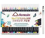 水彩毛筆 HomeCube 水性ペン 水性マーカー カラーペン 収納ケース付き 20カラーセット 20種類 文具 画材 絵用筆 (20色セット)