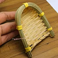 Bobominiworld A Bamboo Dustpan Dollhouse Miniatures Decoration 1:6 Scale Length 7.5cm Yellow