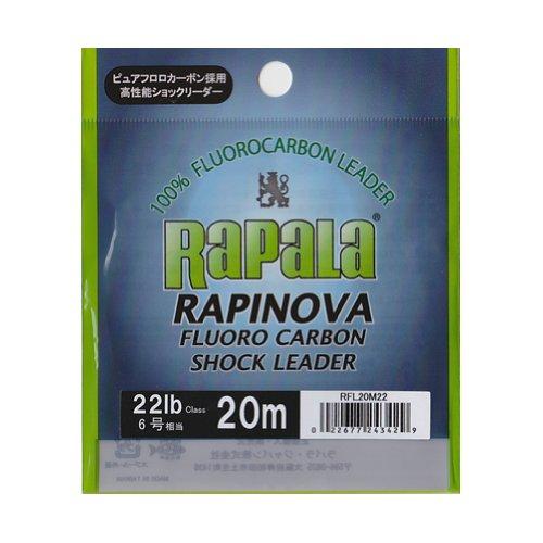 ラパラ(Rapala) ラピノヴァ フロロカーボン ショックリーダー 20m 6.0号 22lb クリア RAPINOVA FLUORO CARBON SHOCK LEADER RFL20M22
