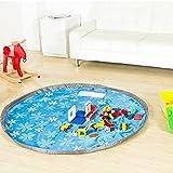 junda おもちゃ片づけマット 収納袋 おもちゃ 収納バッグ お片づけマット 子どもプレイマット 防水シート ストレージバッグ 80cm (ブルー)